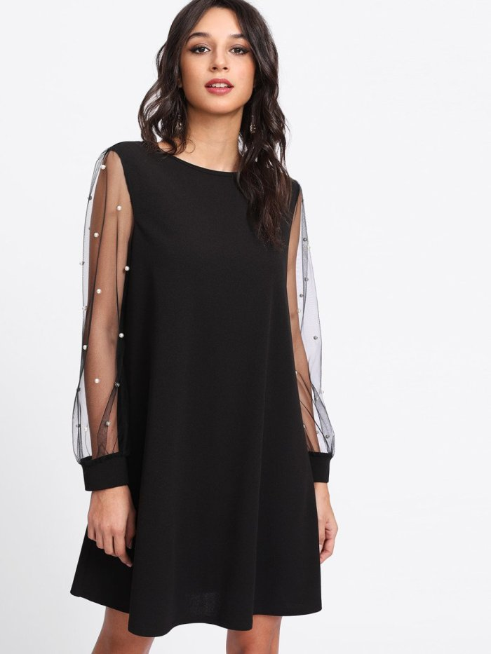 Pearl Beading Mesh Sleeve Dress