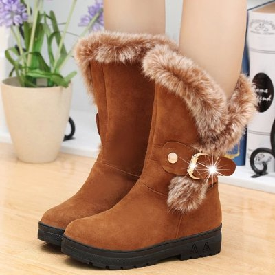 Thickened Middle Tube with Low Heel Round Head Belt Buckle Cotton Boots
