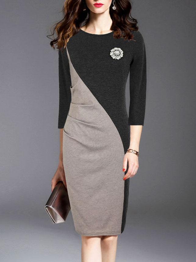Round Neck Colouring Elegant Bodycon Dress