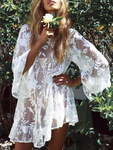 Embroidered Lace Beach Bikini Cover-up