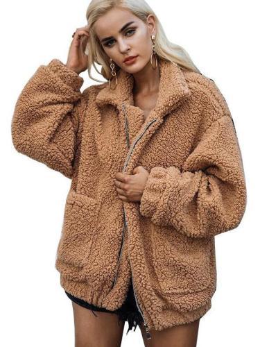 Women Casual   Long sleeve  Plush Coats