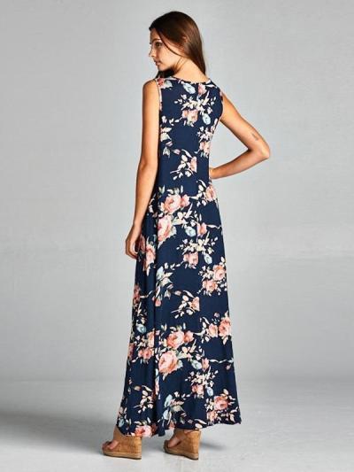 Asymmetry Floral Maxi Dress