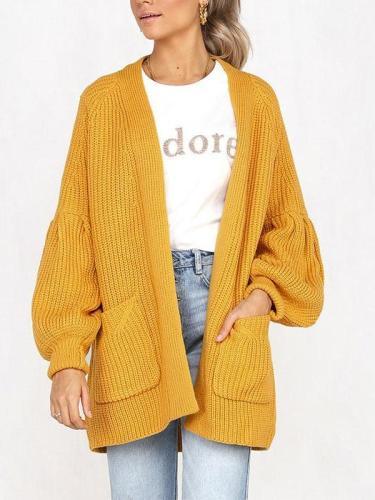 Fashion Plain Long Lantern Sleeve Pocket Knitting Cardigans Coats