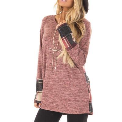 Fashion Plaid Patchwork Round Neck Long Sleeve T-Shirts