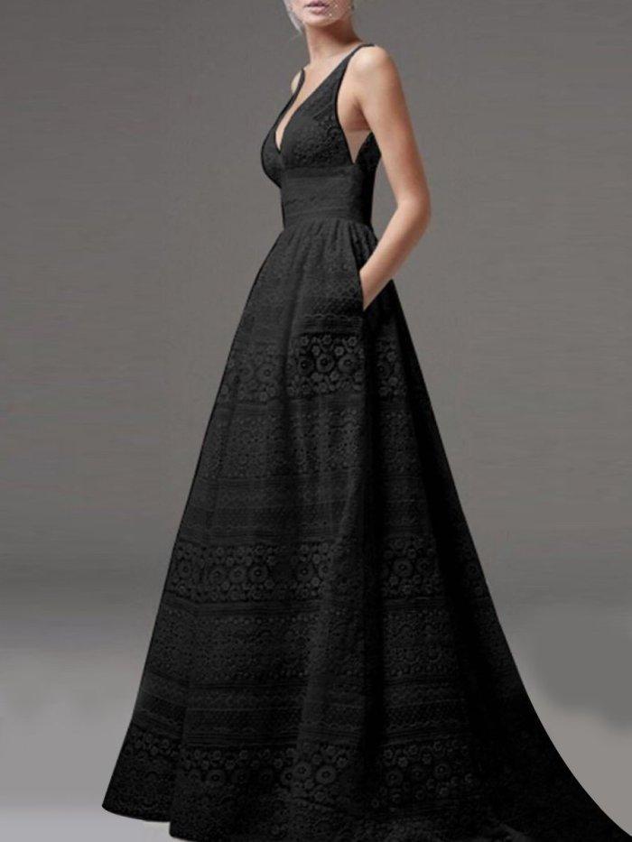 Deep V-Neck Hollow Out Plain Lace Wedding Evening Dress