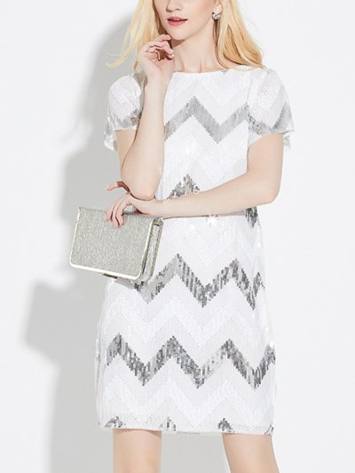 Black and White Round Neck A Line Short Sleeve Sequins Evening Dress