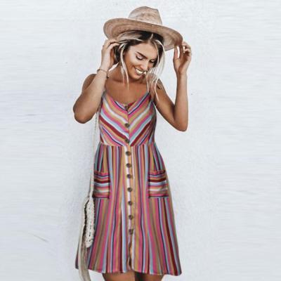 Strap V neck Women More Colors Print Backless Skater High Waist Shift Dress