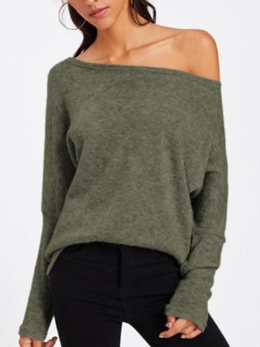One Shouder Casual Soft Long Sleeve Sweater