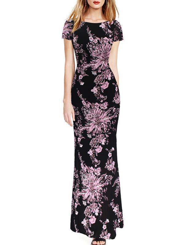 Floral Printed Slim Fit Evening Dress