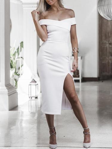 Off-the-shoulder Split-side Midi Dress