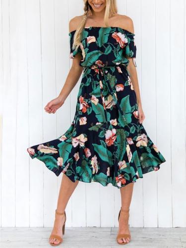 Floral Off-shoulder Bohemia Dress