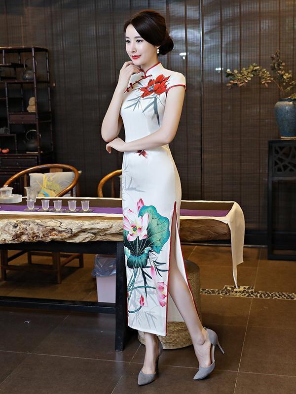 Vintage Floral-printed Long Cheongsams Dress