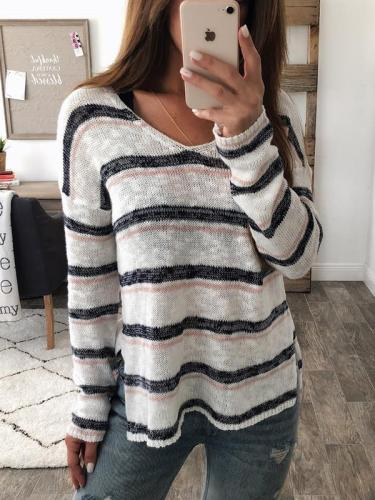 V-neck long-sleeve striped Fall sweater