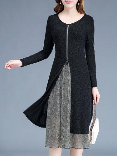 Round Neck  Fake Two-Piece  Plain Maxi Dress