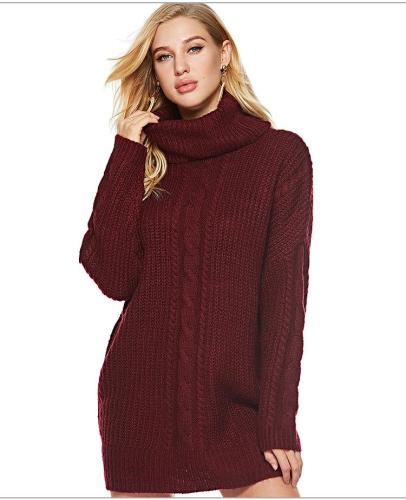 New High collar  Long sleeve Long Sweaters