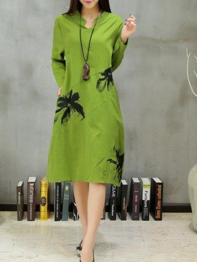 Green Stand Collar Floral Casual Dress