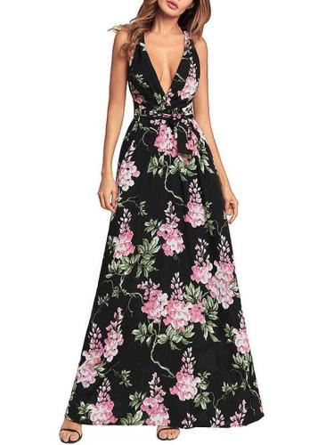 Deep V-neck Backless Printed Maxi Dresses