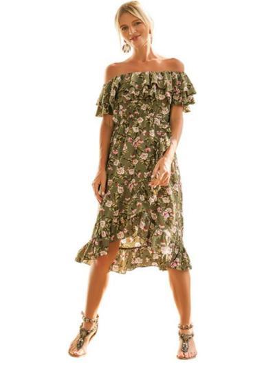 Floral Falbala Off-shoulder Bohemia Dress