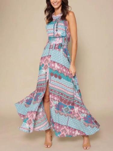 Floral Halterneck Split-front Backless Maxi Dresses