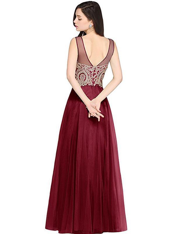 Pretty Gauze Applique Backless Evening Dress