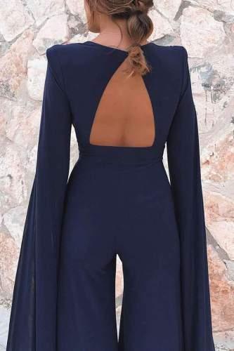 Sexy V neck Circular cape Jumpsuits