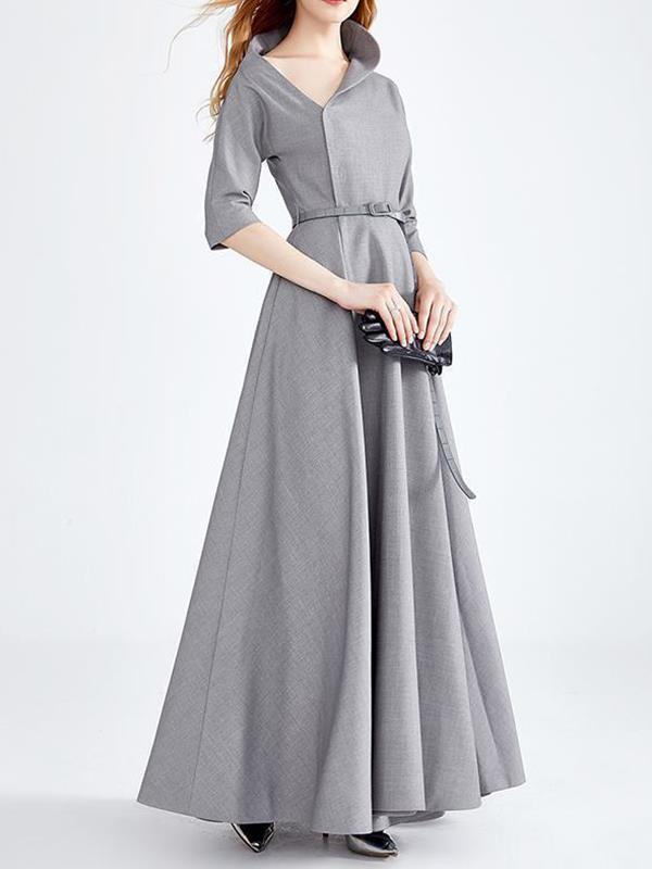 Elegant gary irregular collar long evening dresses