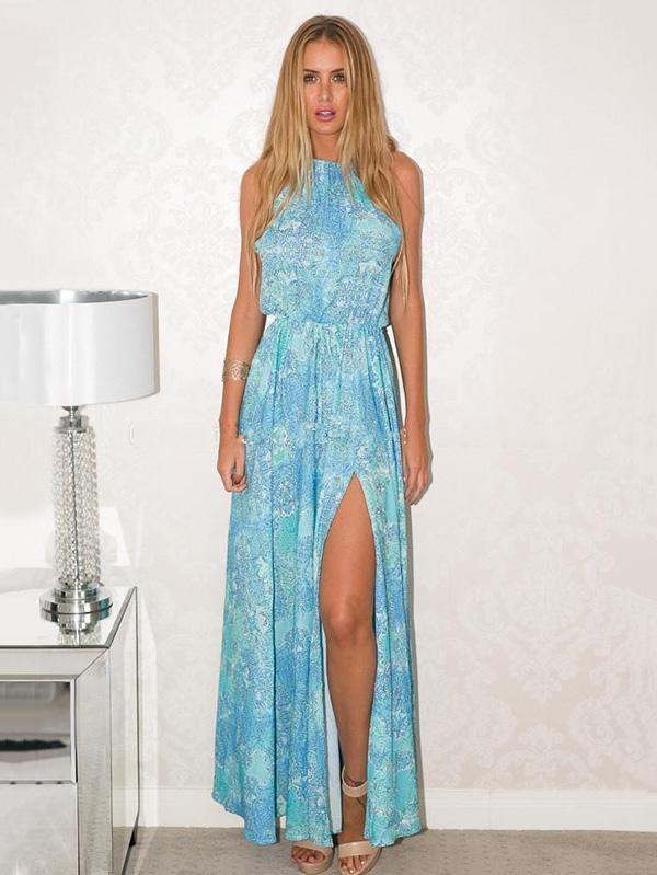 Printed Halterneck Maxi Dresses