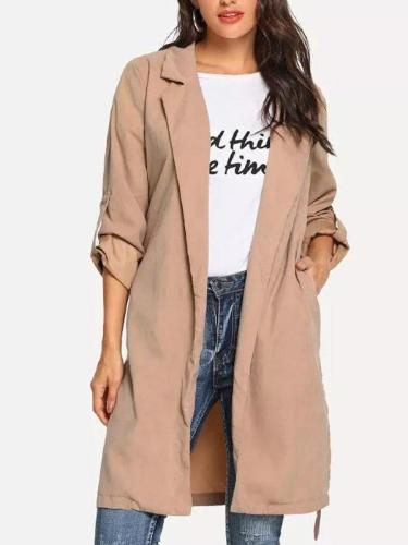 Suit Collar And Belt Windbreaker Woman Trench Coats