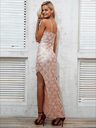Split-side Sequined Backless Evening Dress