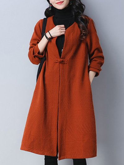 Collarless Single Button Plain Pocket Trench Coat