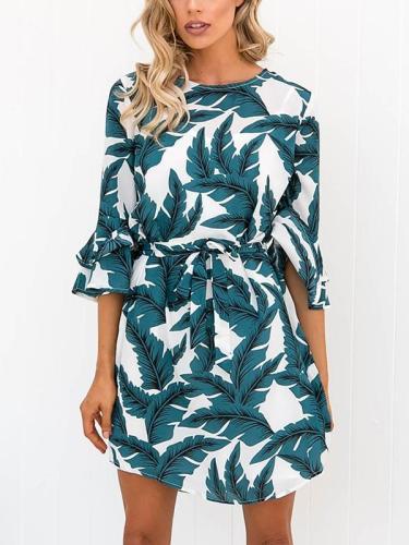 Fashion Jewel Neck Floral Print Mini Dress