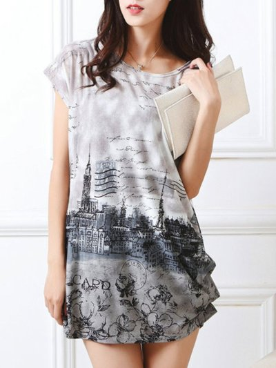 Simple Printed Round Neck Mini Shift Dress