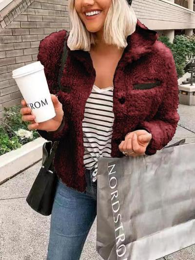 Chic turn down collat pocket decoratation coats