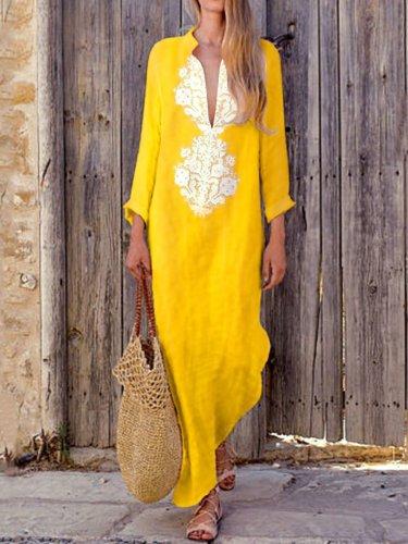 Plus Size Cotton Linen Long Sleeve Solid Loose V Neck Boho Long Dress Casual Dress Maxi Dress For Woman