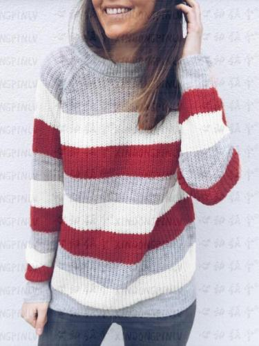 Round Neck Striped Colorblock Sweater