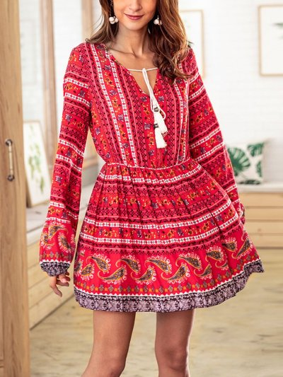 Flory National Ethnic Woman Chiffon V Neck Autumn Fashion Woman Skater Dress