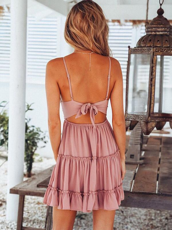 Bohemia Spaghetti-neck V-neck Mini Dresses