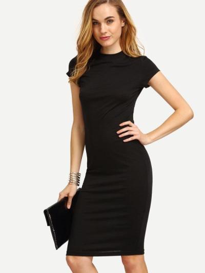 Short Sleeve Knee Length Bodycon Dress