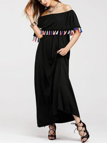 Off Shoulder Tassel Plain Casual Dress