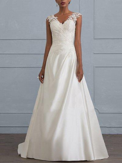 White V Neck Sleeveless Chiffon and Lace Elegant Woman Evening Dresses