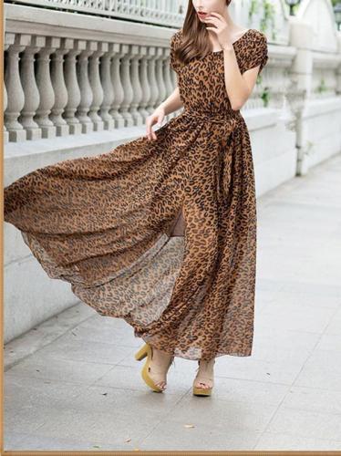Floral-Printed Short Sleeve Round-neck V-back Floor Dress