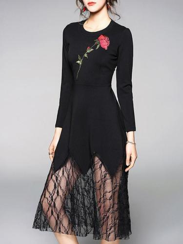 Asymmetric Rose Embroidered Midi Dress