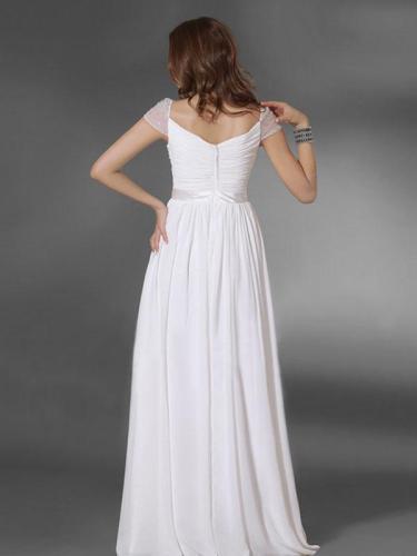 Elegant White Cap Sleeve Maxi Dress Evening Dress