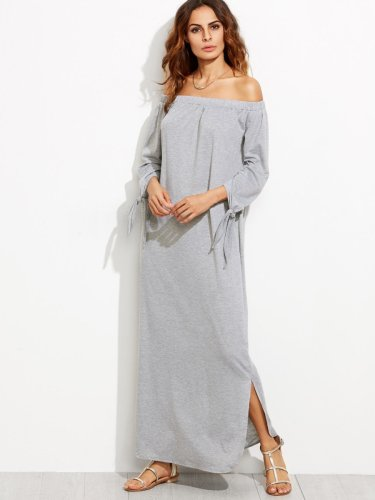Bardot Tie Sleeve Slit Maxi Dress