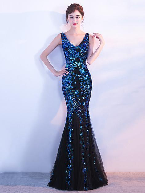 V-neck Sleevelss Mermaid Evening Dress