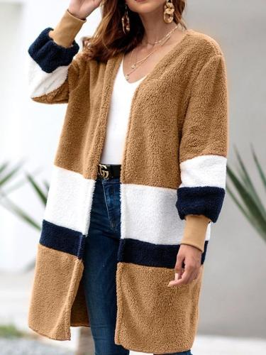 Women Fashion Colour mixture  Plush Coats