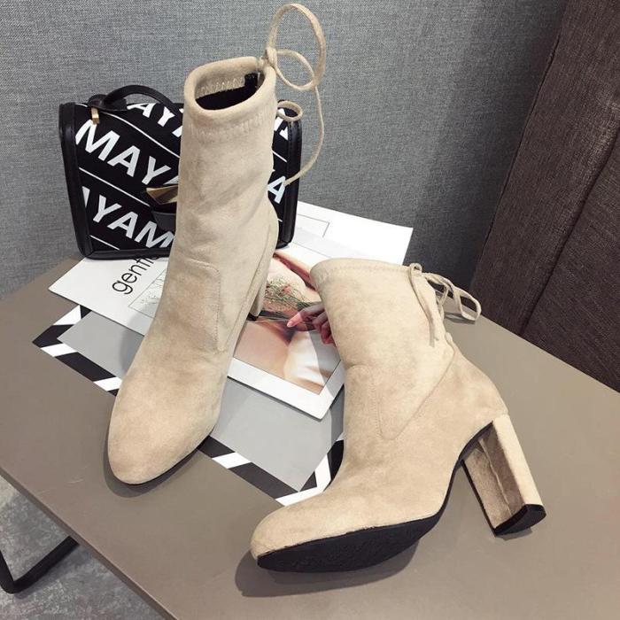 Fashion Round Toe Heel Martin Boots