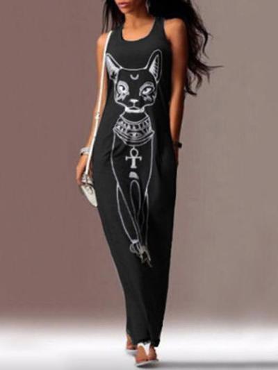 Cat Printed Straps Sleeveless Maxi Dress