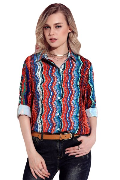Fashion  Single-breasted Long sleeve  Multicolor Blouses