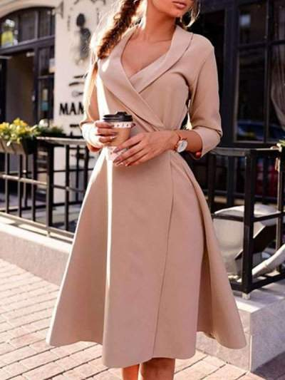 Women Sexy POLO Lapel Collar Ruffles Sleeve Patchwork Lace-Up Skater Dress